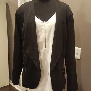 Black Open-Front Zipper Accent Blazer